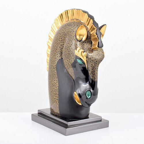 Artistica le Porcellane Horse Head Sculpture