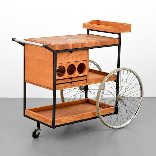 "Bill Saunders ""Chopping Block on Wheels"" Bar Cart"