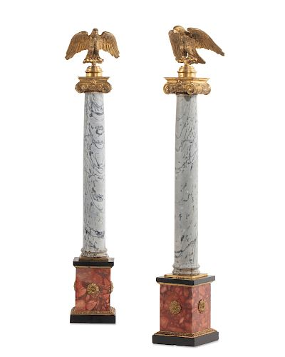 Pair Italian gilt bronze mounted marble columns