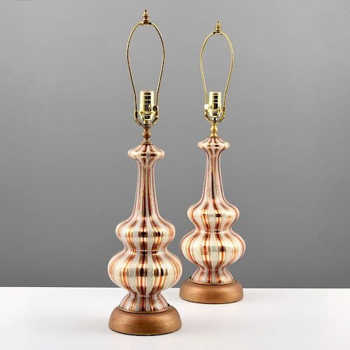 Pair of Murano Lamps, Manner of Dino Martens