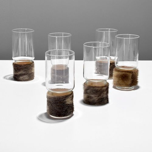 6 Fur-Wrapped Tumblers Attributed to Carl Aubock