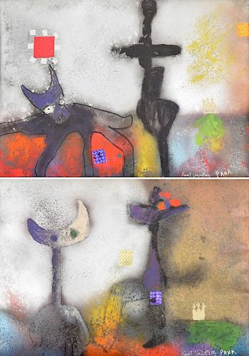 2 Raul Vasquez Saez Mixed Media Paintings