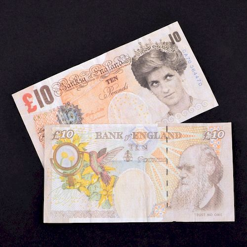 """2 Banksy """"Di-Faced Tenner"""" Lithographs"""