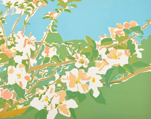 """Fairfield Porter """"Apple Blossoms I"""" Lithograph, Signed AP"""