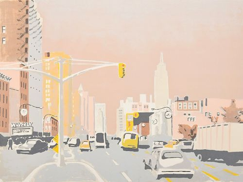 "Fairfield Porter ""Sixth Avenue I"" Lithograph, Signed AP"
