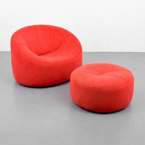 "Pierre Paulin ""Pumpkin"" Lounge Chair & Ottoman"