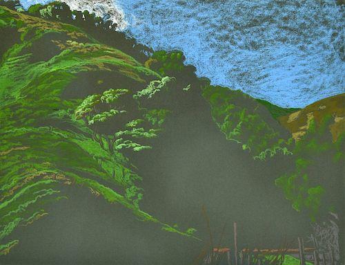 Jack Beal Pastel Drawing, Landscape