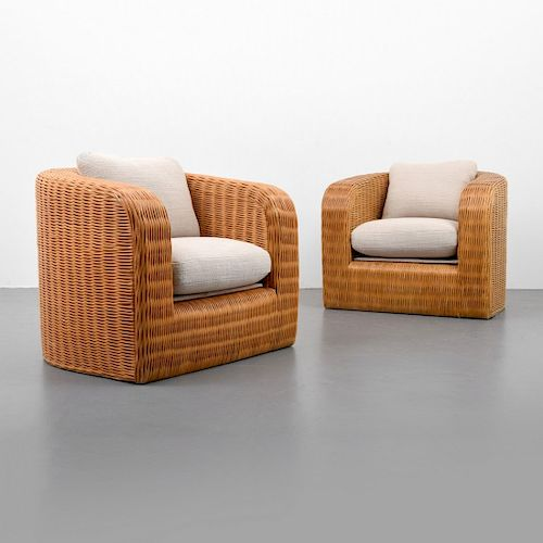 Pair of Karl Springer Pullman Lounge Chairs