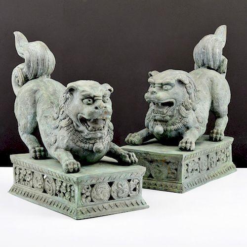 Pair of Large Bronze Foo Lions