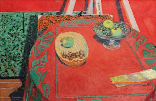 Maurice Brianchon, oil, still life with red rug