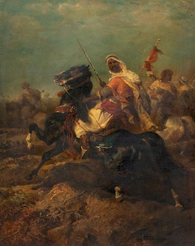 Adolf Schreyer, oil, The charge