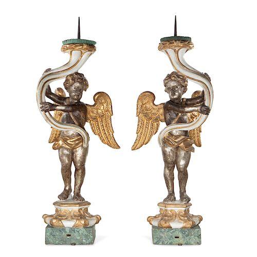 Pair of Italian Baroque angel form prickets