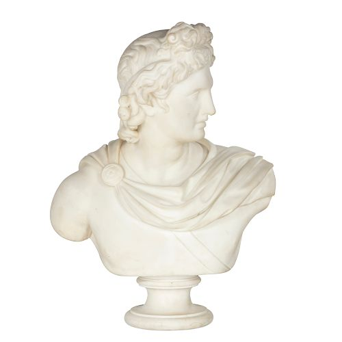 An Italian marble bust of the Apollo Belvedere