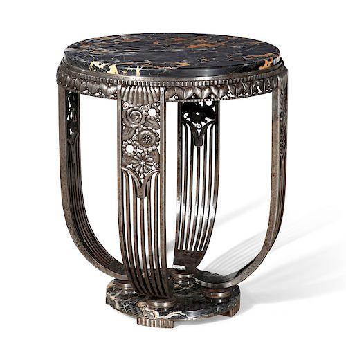 Edgar Brandt wrought iron & marble center table