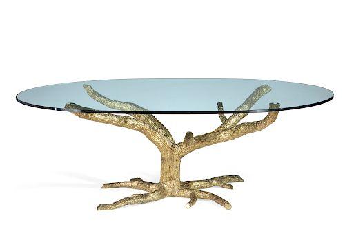 A Jacques Duval-Brasseur bronze tree form table