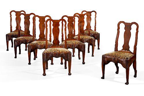 Eight Irish George II yew wood side chairs, 18th C