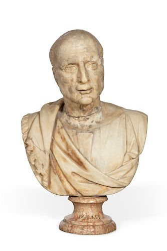 A Roman carved marble bust of a gentleman