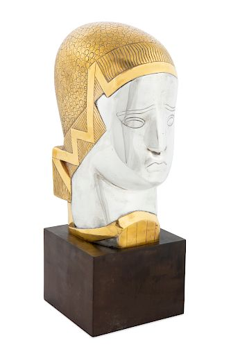 Joseph Csaky,Tete de femmesilvered / gilt bronze