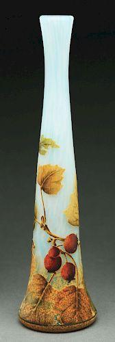 Daum Cameo & Enameled Vase.