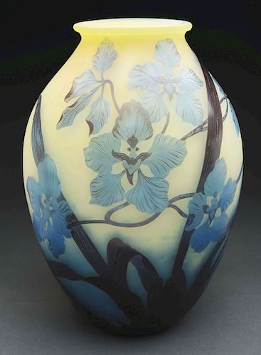 Galle Cameo Orchid Vase.