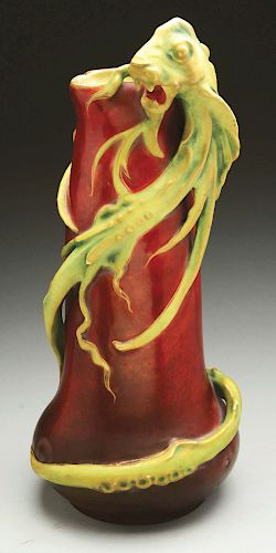 Amphora Ceramic Rare Monumental Sea Dragon Vase.