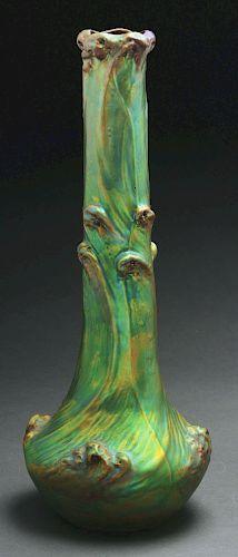 Zsolnay Art Nouveau Iridescent Green Ceramic Vase.