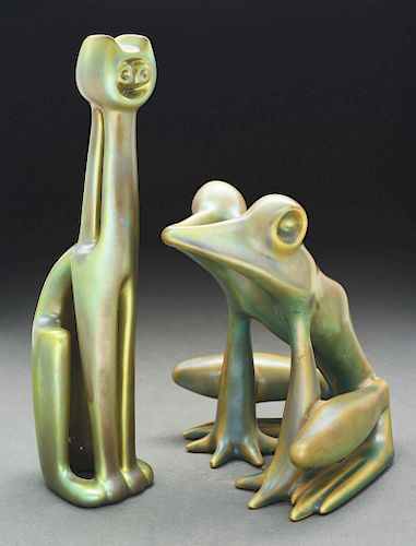 Lot of 2: Zsolnay Iridized Frog & Cat.