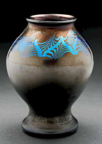 Tiffany Favrile Black Decorated Vase.