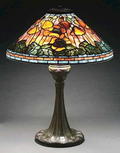 "Tiffany Studios 20"" Poppy Table Lamp."