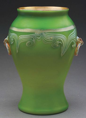 Tiffany Decorated Vase With Applied Handles.