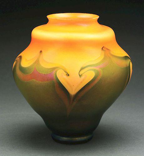 Tiffany Favrile Hooked Feather Vase.