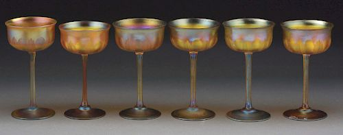 Lot of 6: Tiffany Favrile Carved Stems.