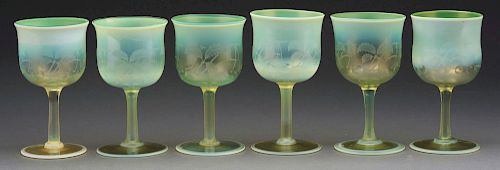 Six Tiffany Pastel Carved Goblets.