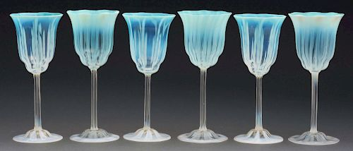 Six Tiffany Favrile Pastel Goblets.