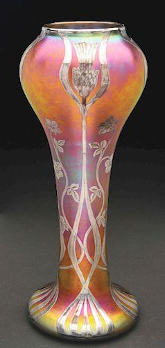 Quezal Silver Overlay Vase.