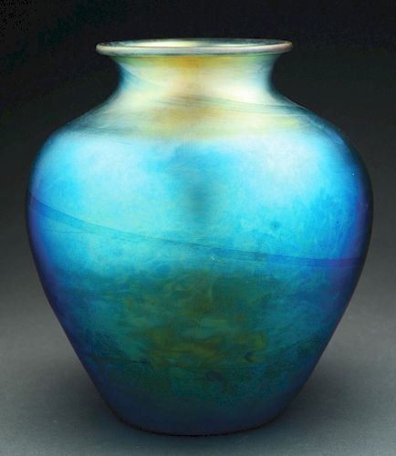 Steuben Blue Aurene Vase.