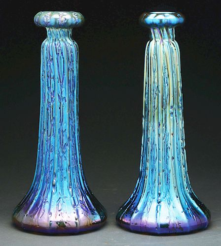 Pair Of Durand Blue Egyptian Crackle Vases.