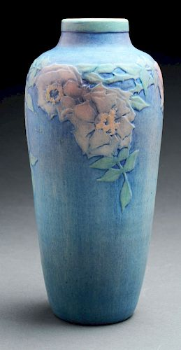 Sadie Irving, Newcomb College Pottery Vase With Wild Roses.