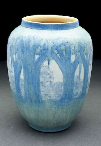 Newcomb College Forest Scene Vase.