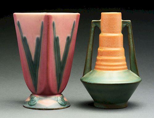 Lot of 2: Roseville Pottery Futura Telescope & Victory Vases.