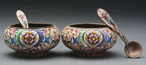 Set of 2: Russian Enamel Master Salts with Matching Spoons.