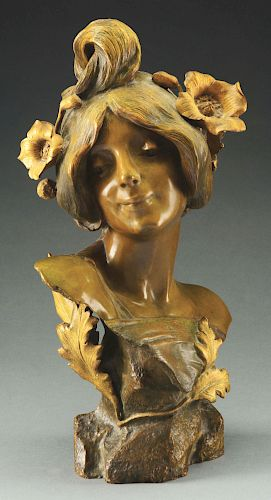 Large Bronze Female Bust.