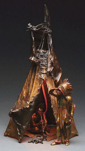 Franz Bergman (1898 - 1963) Figural Group of a Tipi Lamp.