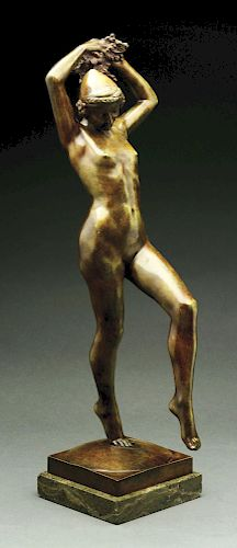Signed Nude Bronze Dancer Holding Grapes.