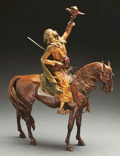Bronze Sculpture of Arab on Horseback Hunting with a Hawk in the Manner of Franz Bergman.