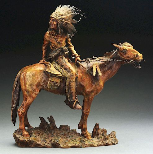 Carl Kauba (1865 - 1922) Native American on Horseback.