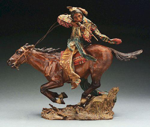 Bronze Sculpture of Native American on Running Horse.