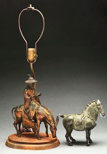 Bronze Tang Style Horse Together with a Pot Metal Figure of a Traveler on Horseback now Mounted as a Lamp.