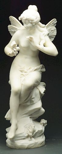Italian Marble Statue of Fairy Holding Butterfly.