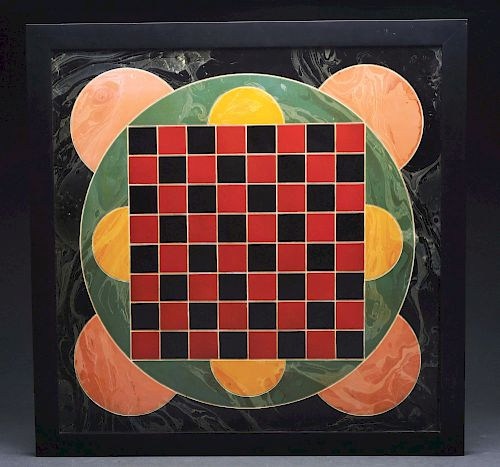 Superb & Unusual Decorated Checkers Game Board.